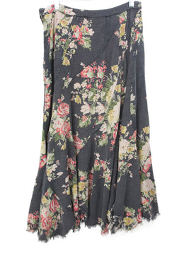 Watanabe Black Floral Print Cotton Skirt 2