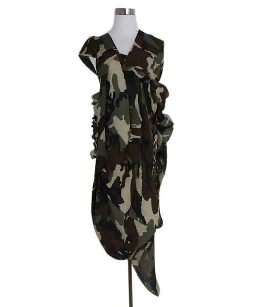 Watanabe green camouflage pleated dress 1