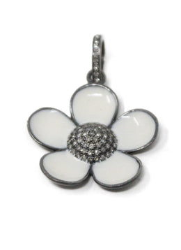 White Enamel Diamond Flower Pendant