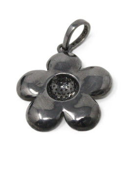 White Enamel Diamond Flower Pendant 1