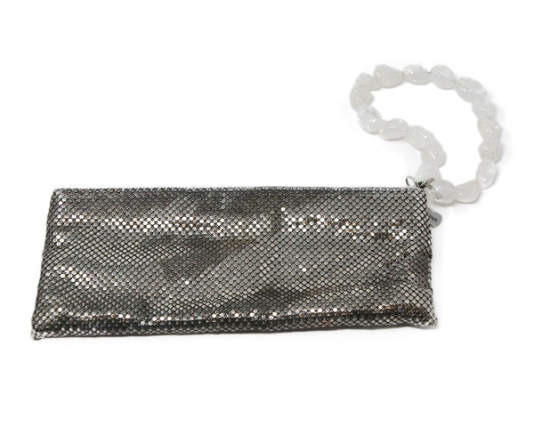 Whiting & Davis Silver Metallic Clutch with Clear Stone Wrist Handle Detail 2
