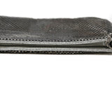 Whiting & Davis Silver Metallic Clutch with Clear Stone Wrist Handle Detail 4
