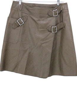 Worth Brown Leather Skirt