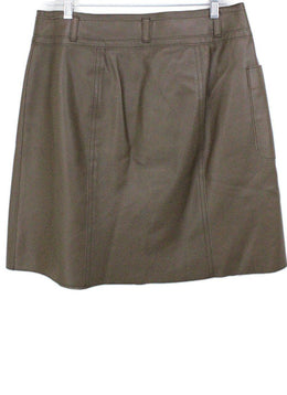 Worth Brown Leather Skirt 1