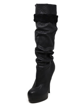 YSL Black Knee High Leather Boots 3
