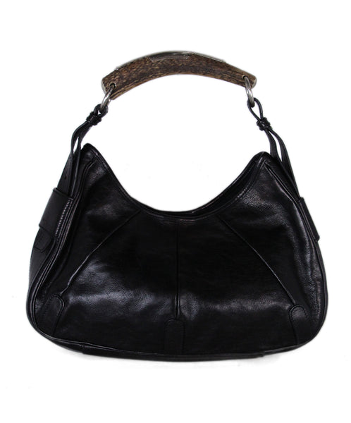 YSL Black Leather Horn Handle Shoulder Bag 1