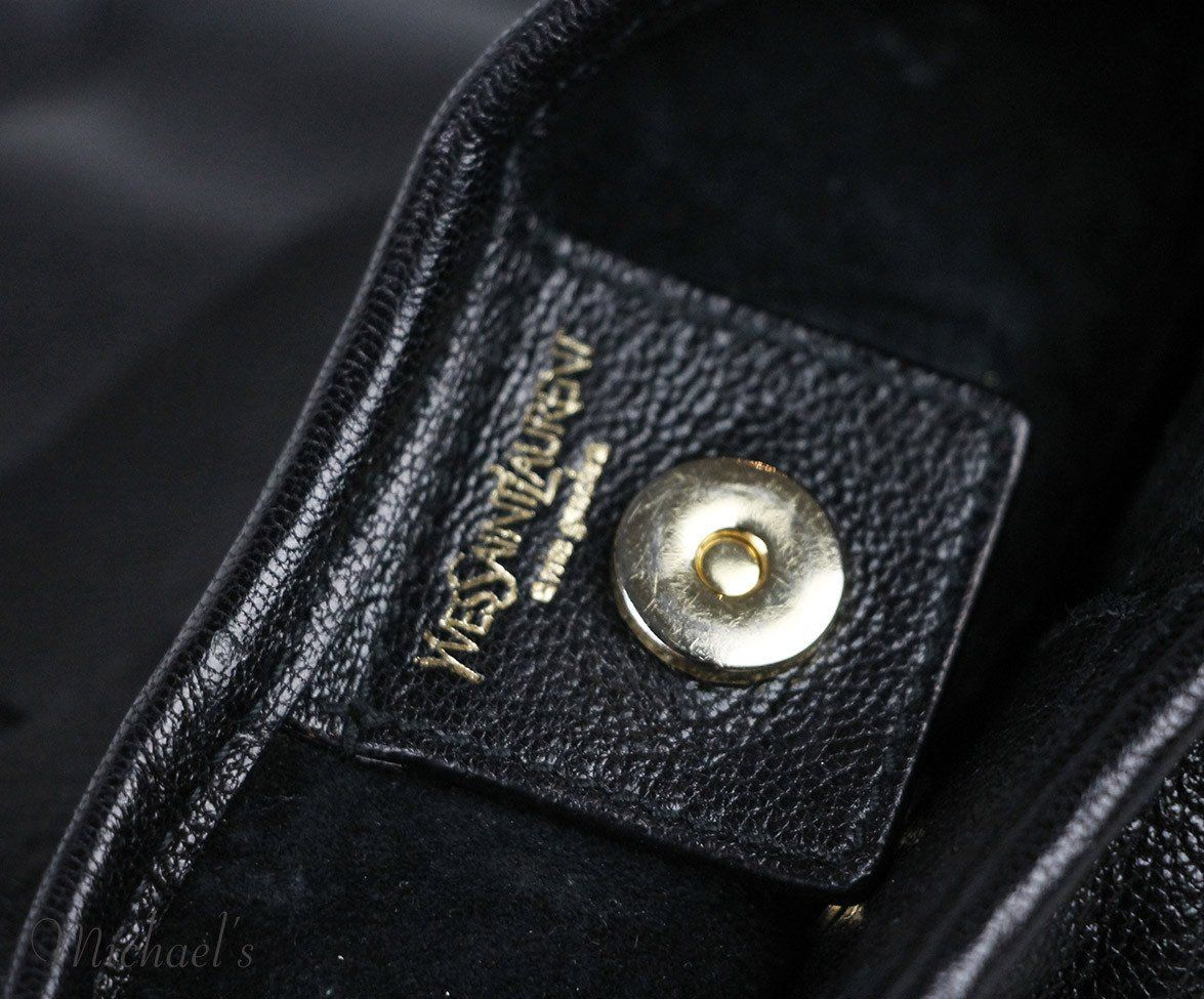 Ysl Black Leather Magnets Handbag