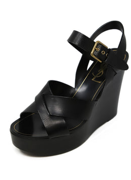 YSL Black Leather Strap Wedges 1