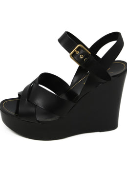 YSL Black Leather Strap Wedges 2
