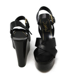 YSL Black Leather Strap Wedges 3