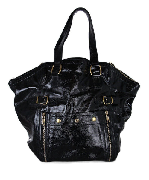 YSL Black Patent Leather Tote 1