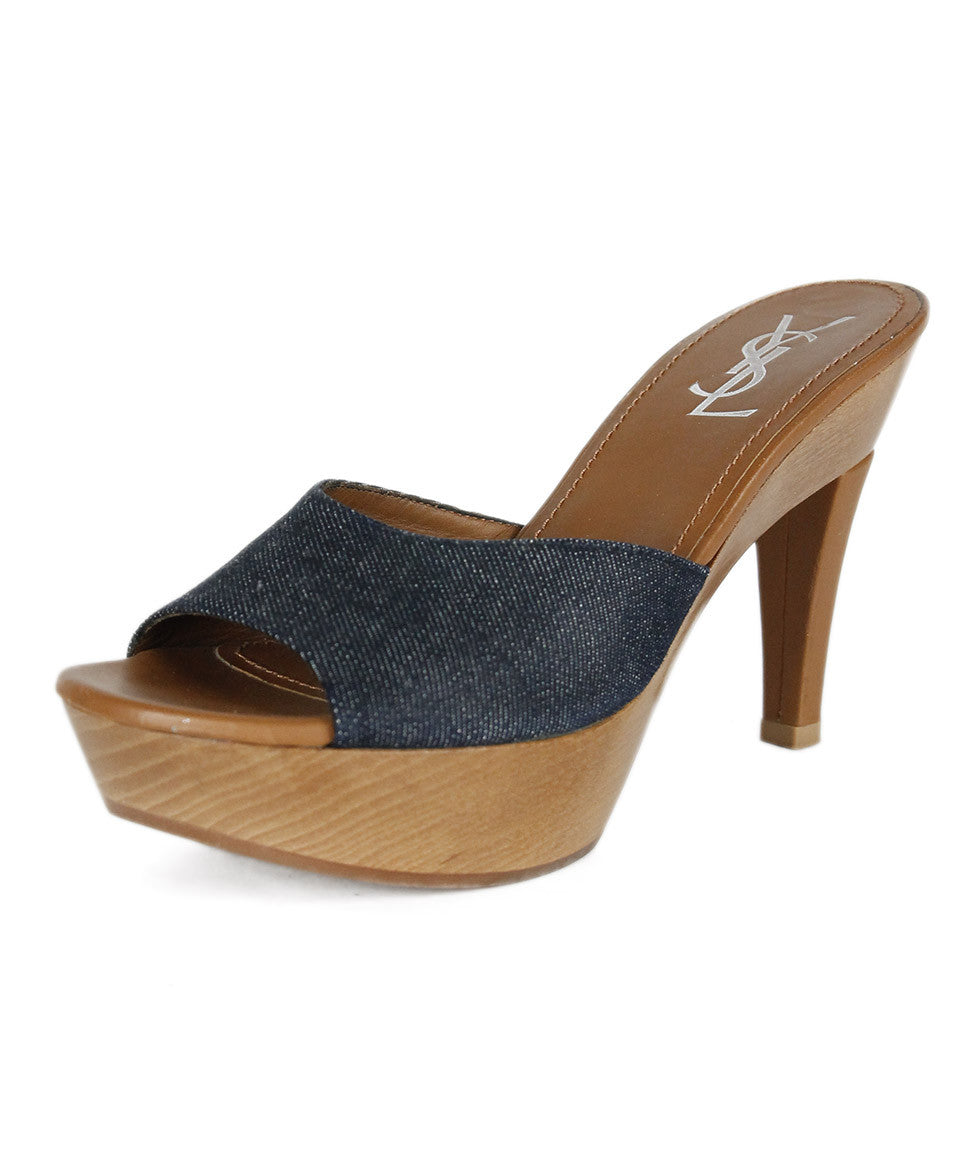 Ysl Sandals US 9 Blue Denim Shoes