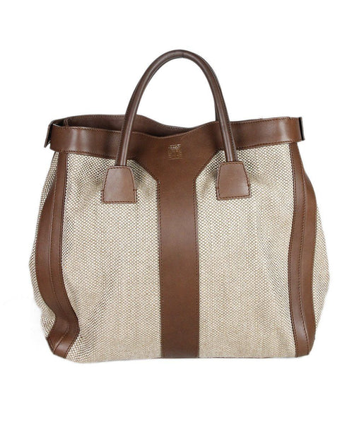 Ysl Tan Canvas Brown Leather Handbag