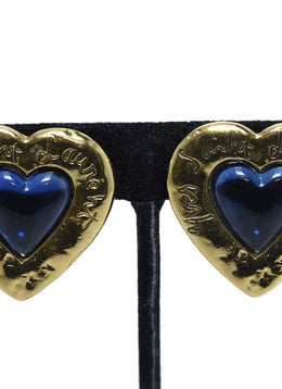 YSL Gold Blue Stone Heart Earrings | YSL