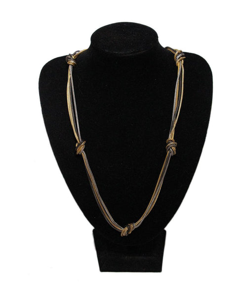 YSL Gold Silver Gunmetal Necklace 1