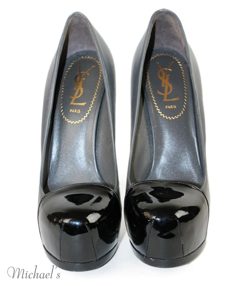 Ysl Grey Black Leather Patent Leather  Shoes Sz 36.5