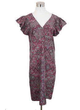 YSL Grey and Magenta Printed Silk Dress 1