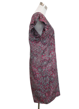 YSL Grey and Magenta Printed Silk Dress 2