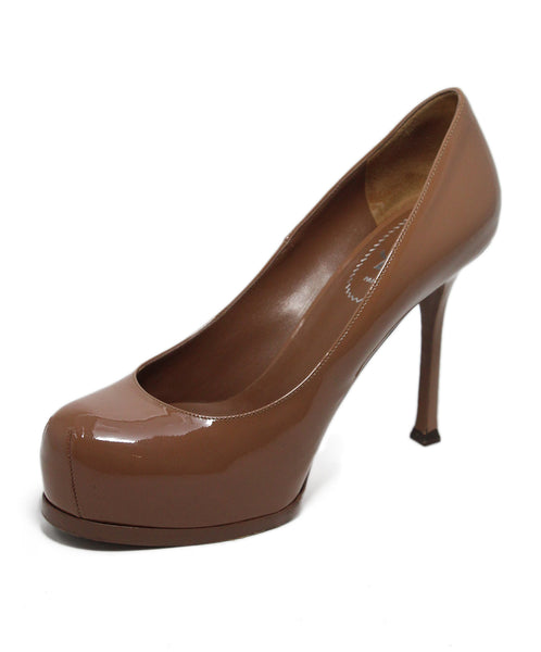 YSL Taupe Patent Leather Heels 1