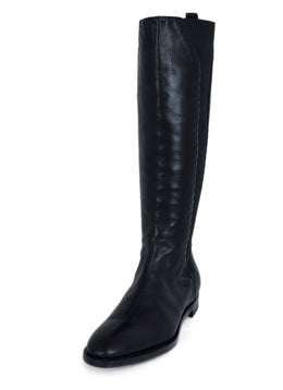 YSL Black Leather Elastic Trim Boots 1