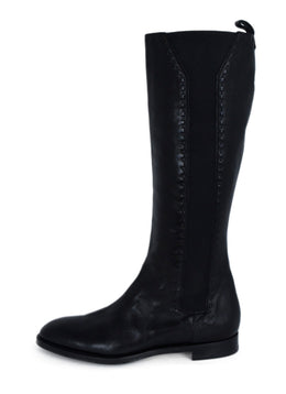 YSL Black Leather Elastic Trim Boots 2