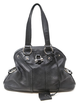 YSL Black Leather Satchel Shoulder Bag 1
