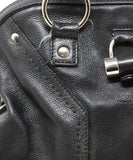YSL Black Leather Satchel Shoulder Bag 10