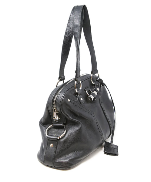 YSL Black Leather Satchel Shoulder Bag 2