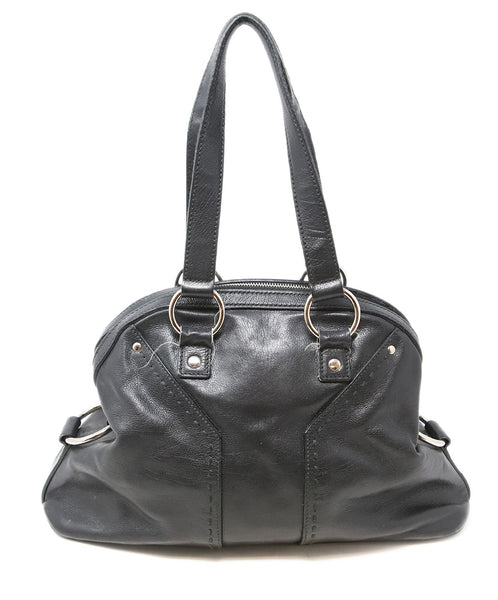 YSL Black Leather Satchel Shoulder Bag 3