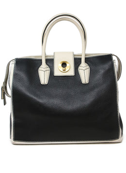 YSL Black Leather Satchel with White Leather Trim 1