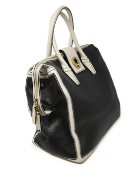 YSL Black Leather Satchel with White Leather Trim 2