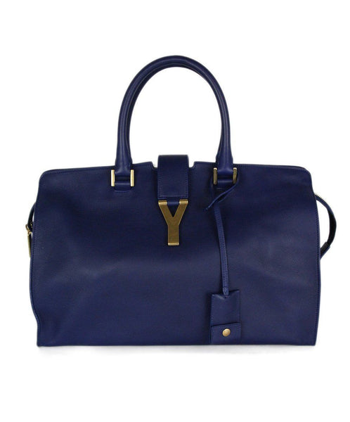 "YSL ""Cabas Chyc"" Blue Lambskin Leather Medium Tote Handbag 1"