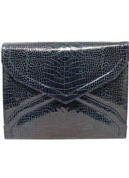 Clutch Magnets YSL Blue Navy Pressed Leather Vintage Handbag 1