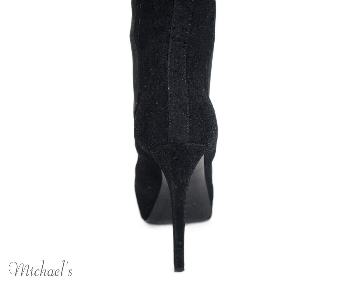 Yves Saint Laurent Black Suede Elastic Panel Boots Sz 35 - Michael's Consignment NYC  - 9