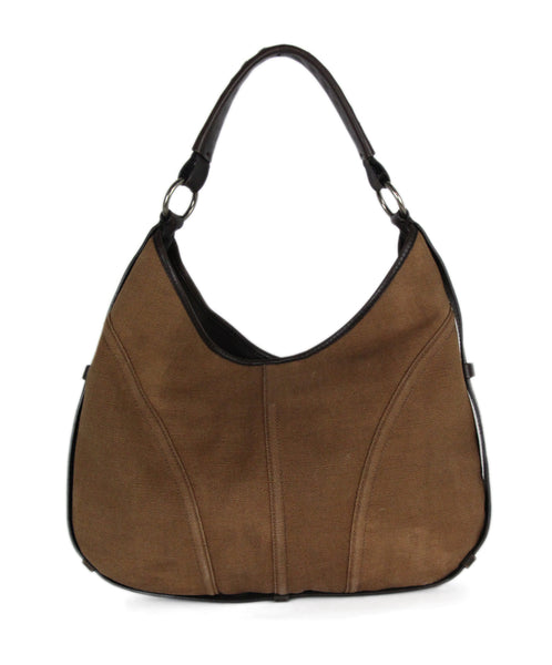 YSL brown canvas leather trim bag 1