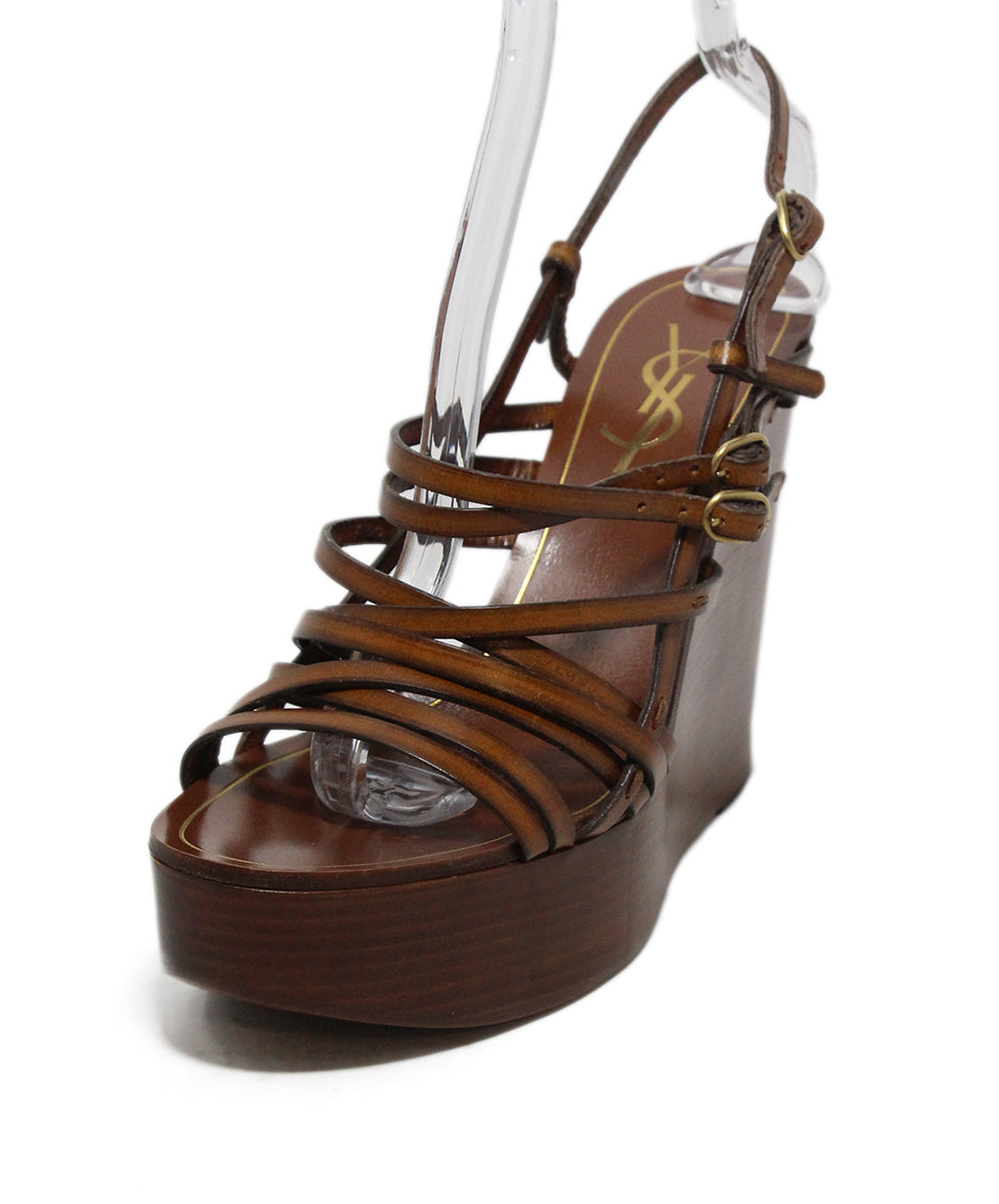 6977fee4c62 YSL Wedge US 10 Brown Tobacco Leather Shoes - Michael's Consignment NYC