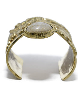 YSL Gold Metal Cuff with Beige Stone | YSL