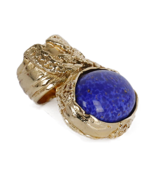 YSL Gold Metal Blue Stone Ring 1