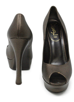 YSL Metallic Bronze Leather Heels 2