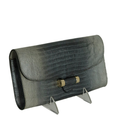 YSL Grey Silver Lizard Clutch 1