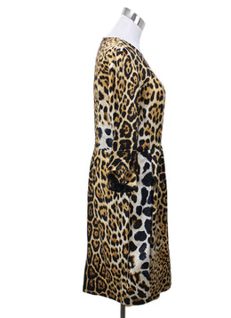 YSL Animal Print Silk Dress Sz 12