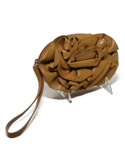 YSL Neutral Tan Leather Flower Clutch Wristlet Handbag 1