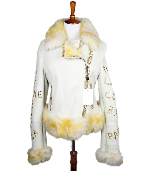 Beige Shearling Yellow Snake Skin Trim Coat Sz 6