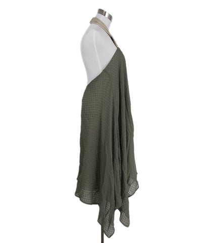 Yigal Azrouel Olive Silk Beige Rope Halter Dress 1