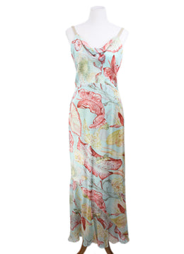 Yigal Azrouel Blue Multi Floral Silk Dress 1