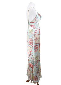 Yigal Azrouel Blue Multi Floral Silk Dress 2