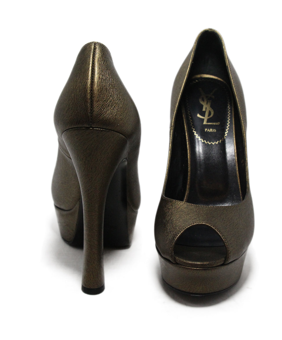 Ysl Brown Bronze Leather Shoes 3