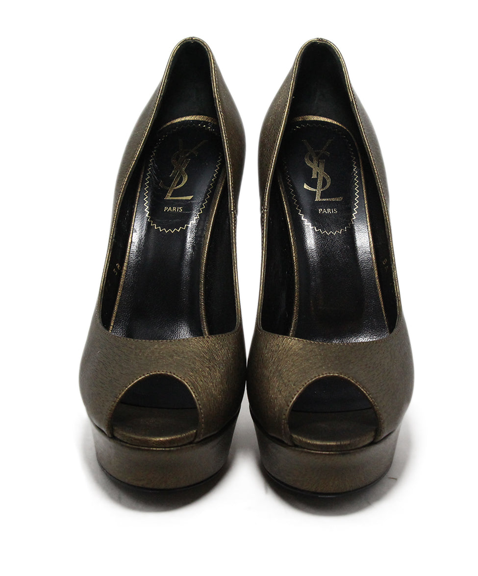 Ysl Brown Bronze Leather Shoes 4
