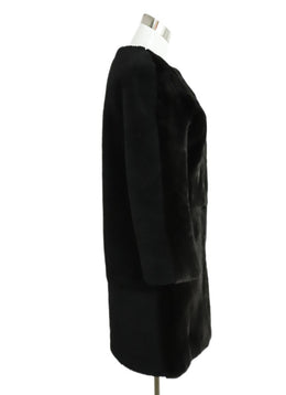 Yves Salomon Black Shearling Brown Mink Coat 2