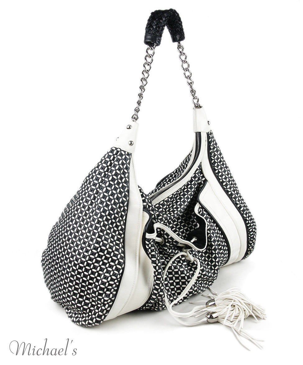 Zac Posen White Black Leather Handbag
